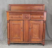 Empire Buffet, Walnut, Three Drawers over Two Doors, Turned Coluumns on Casters, 53