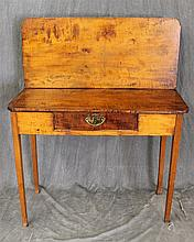 Writing Table / Desk, Maple, Fold Down, Single Drawer on Tapered Legs, (Fold Down Portion Does Not Fold, Needs Restoration), 43