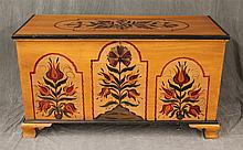 Blanket Chest, Pine with Hand Painted Floral Design, Open Interior on Ogee Bracket Feet, 28