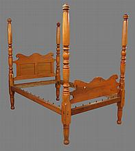 Four Poster Rope Bed, Cherry, Scrolled Headboard with Turned Posts, Accessories Include Canopy, Metal Frame and Mattress, Pillows an...