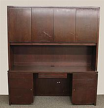 Contemporary Office Desk, Mahogany, Lighted, Two Sectional with Cabinets and Shelving and Seven Drawers, 80