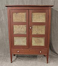 Pie Safe, Red Painted, Two Doors with Punched Tin Panels over One Drawer on Tapered Legs, 64