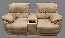 Loveseat Dual Recliner, Light Tan Leather with Center Cup Holder and Console, 38
