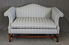 Settee, Scrolled Arms in Blue Striped Fabric on Straight Legs and Stretcher Base, 32