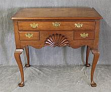 Kittinger Buffalo, Queen Anne Style Lowboy, Walnut, One Drawer over Two Drawers Centered with a Carved Shell, Solid Backplate Handle...