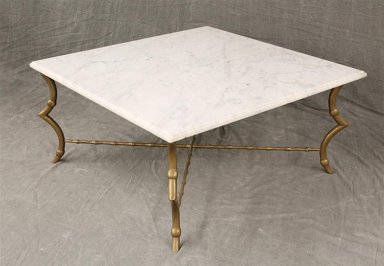 Marble Top Coffee Table On A Brass Stand With French Legs