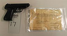 JP Sauer Model 38-H semi-automatic pistol with capture paper. Cal. 7.65 mm. 3-1/2