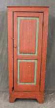 Wall Cupboard, Pine, Red Painted with Green Painted Highlights, Single Door Opening to Wood Shelving, 62 1/2