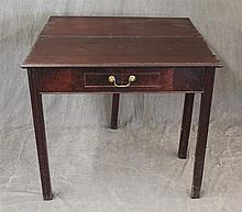 Games Table, Mahogany, Single Drawer on Straight Legs, 28 1/2