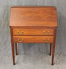 Slant Front Desk, Pine, Fitted Interior, Two Drawers on Tapered Legs, 39 1/2