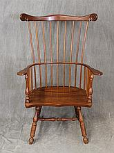Windsor Arm Chair, Cherry, Comb Back, Nine Spindles, Turned Legs and H Stretcher, 46