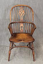 Windsor Arm Chair, Elm Sack Back, Pierced Splat, Six Spindles, Saddle Seat, Turned Legs