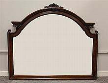Mirror, Walnut, Arch Surrmounted by Carved Shell and Foliate Design Flanked by Open Scrolls, 44