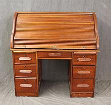 Roll Top Desk, Cherry, Fitted Interior, Two Writing Surfaces over Seven Drawers on Casters, (Top Section is Loose, Tambour is Loose...
