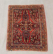 Persian Sarough Mat, Wool, Central Medallion in a Burgandy Field, Floral Spandrel and Navy Blue and Floral Main Border, (Minor Frayi...