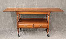 Crawford Furniture, Server, Cherry, Dropleaf with Open Shelf over Two Drawers, Turned Legs on Casters, 29