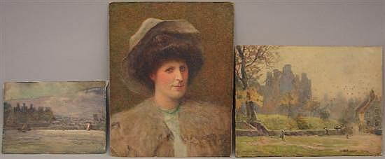 Emsley, Walter, 1860-1938, United Kingdom, Lot of 3 Watercolor Paintings. Watercolor on Paper over Board.