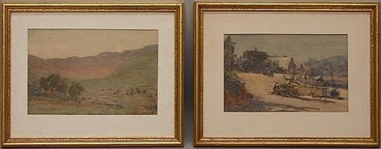 Emsley, Walter, 1860-1938, United Kingdom, Lot of 2 Framed Landscapes. Watercolor on Paper.