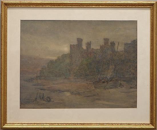Emsley, Walter, 1860-1938, United Kingdom, Sailboat Along the Shore. Watercolor on Paper.