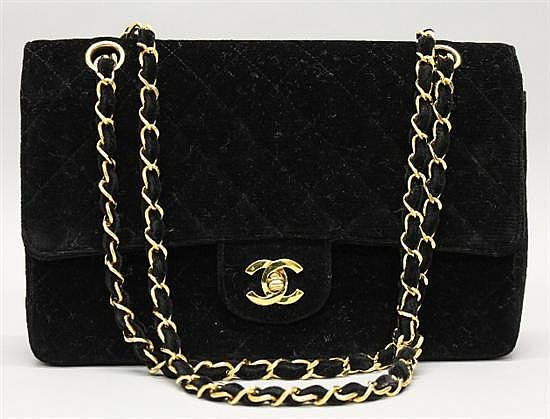 Chanel Black Quilted Velvet Handbag