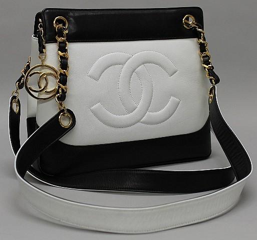 Chanel Black & White Leather Handbag