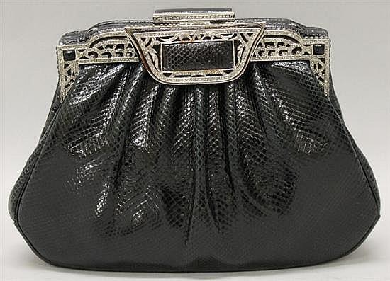 Judith Leiber Black Reptile Leather & Rhinestone Evening Bag