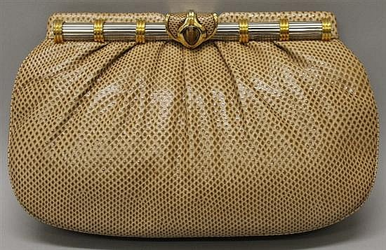 Judith Leiber Tan Reptile Leather Evening Bag