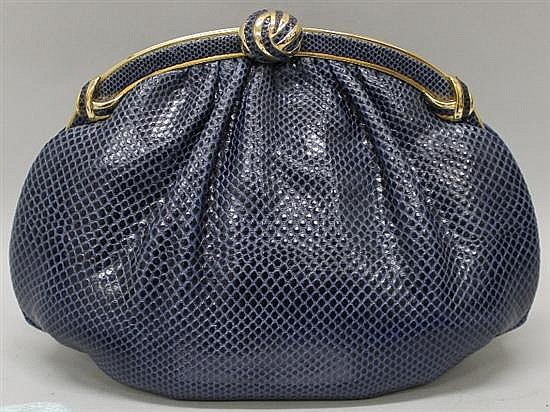 Judith Leiber Navy Reptile Leather Evening Bag