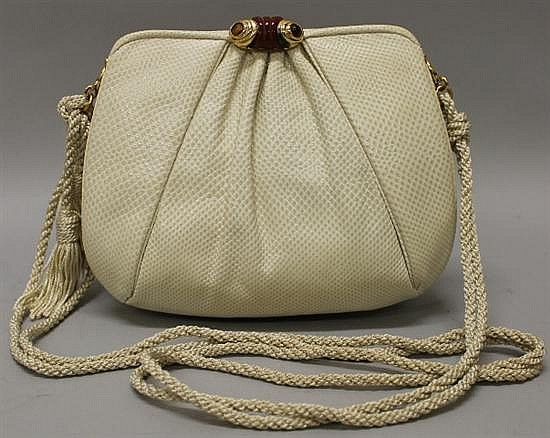 Judith Leiber Ivory Reptile Leather Evening Bag