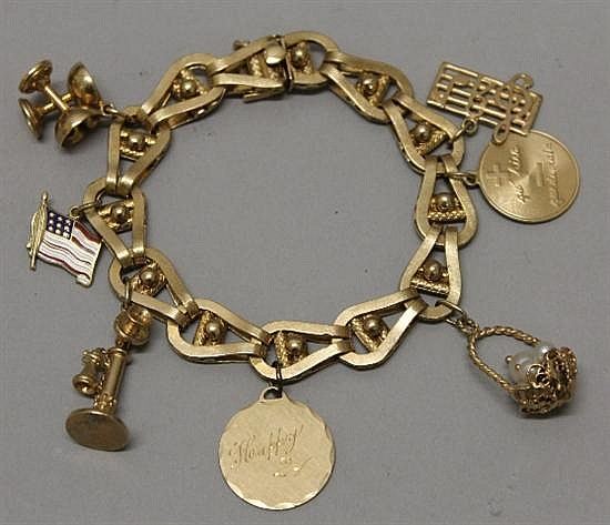14K Yellow Gold Charm Bracelet with Charms