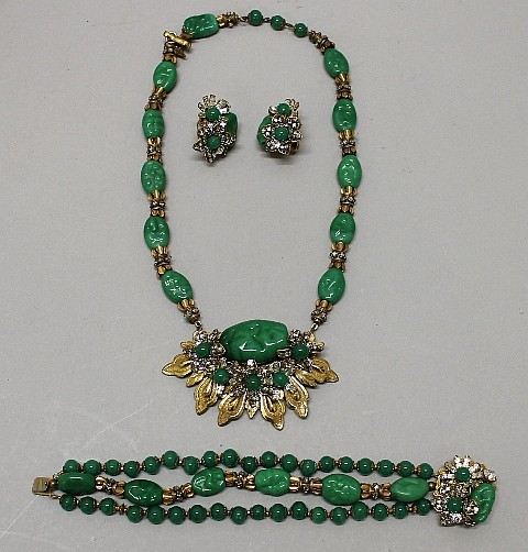 Miriam Haskell. Rare 3 Piece Green Gloss Parure