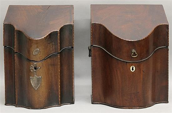 Two Mahogany Knife Boxes