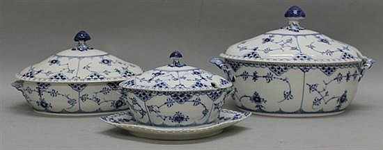 Grouping of Royal Copenhagen Blue Fluted Full Lace Serving Pieces