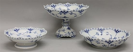 Royal Copenhagen Fluted Blue Lace Decorative Bowls