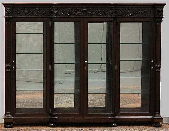 Figural Carved Mahogany Bookcase