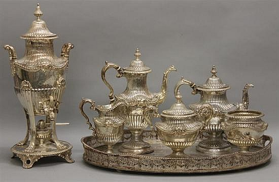 J.E. Caldwell Repousee Six Piece Tea Set