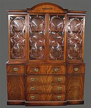 Saginaw, Breakfront Library Bookcase, Mahogany, Molded Cornice, Four Glazed Doors over Fold Down Desk with Fitted Interior, Five Dra...