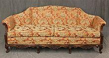 Sofa, Carved Mahogany, Scrolled Arms with Floral Designed Upholstery, 34