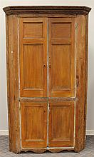 Corner Cupboard, Pine, Two over Two Blind Doors, One Piece, 76 1/2H x 43