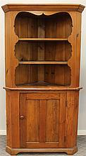 Corner Cupboard, Pine, Two Piece, Open Top with Two Shelves over a Single Door Base, 80