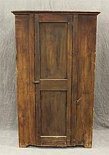 Flat Wall Cupboard, Pine with Remains of Grain Paint, Single Door Opening to 5 Shelves, 66