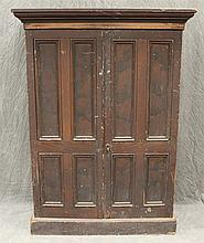 Flat Wall Cupboard, Pine with Remains of Grain Paint, Two Raised Panel Doors Opening to a Fitted Interior with Pigeon Holes and Lett...