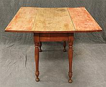 Drop Leaf Table, Pine with Remains of Red Paint, Turned Tapered Legs, 28 1/2