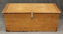 Blanket Chest, Pine,  Dovetailed Chest with Breadboard Ends Remains of White Paint, Interior Till, 17