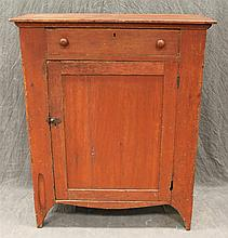 Milk/Jelly Cupboard, Pine with Red Paint, Single Drawer over a Paneled Door, Opening to Three Shelves, Champherd Corners, Tapered Br...