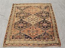 Ashfar Caucasian Mat, Diamond Medallion and Field, Cream Spandrel, (Thread Worn), 65