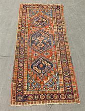 Karaja Persian Mat, Diamond Shaped Medallion, Floral Spandrel, (Thread Worn), 78