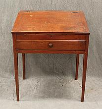 School Masters Desk, Slant Lid over a Single Drawer, Pine with Redwash, Tapered Leg Base, 37 1/2