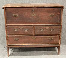 New England Blanket Chest, Pine with Redwash, Hinged Lid over Two Small Drawers over One Long Drawer, Bootjack Feet, 37