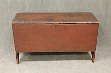 Blanket Chest, Pine Six Board Chest with Redwash, Boot Jack Feet, Wrought Iron Butterfly Hinges, 23 1/2